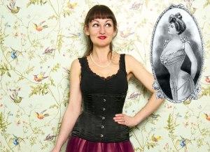 Katy Pearson in a corset