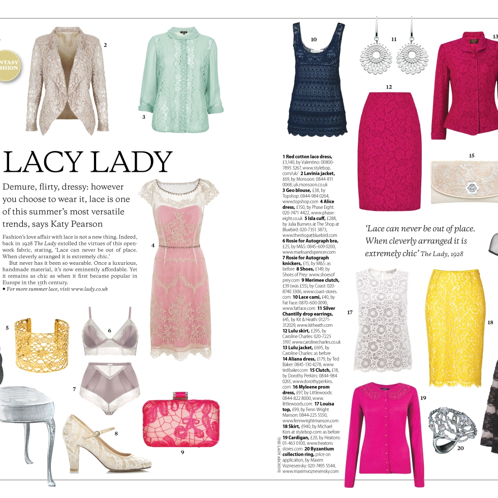Lacy Lady fashion feature for The Lady magazine