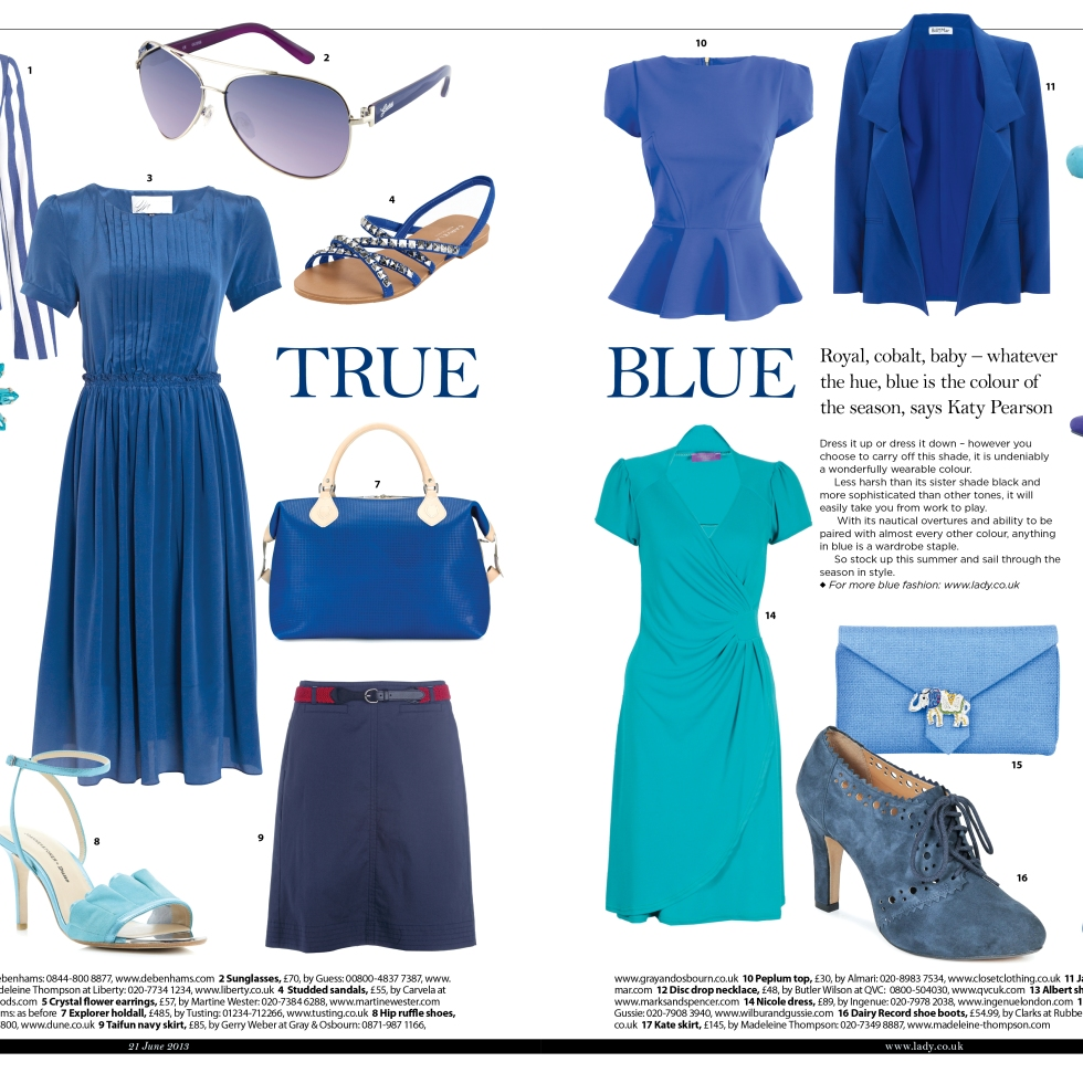 True blue fashion for The Lady magazine