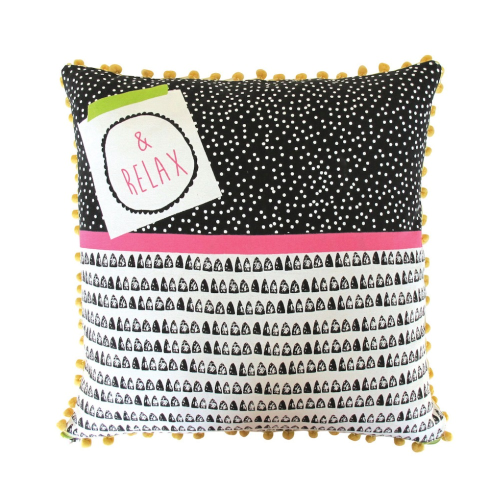 Disaster Designs Note to Self Relax Geometric Cushion, £24.99
