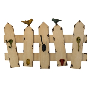 Cream Wall Hooks With Bird and Fence Design, £27.95