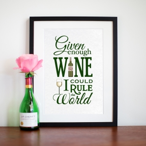 Given enough wine I could rule the world sign, £13