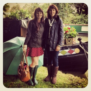 Me with designer Julie Dodsworth by her beloved canal boat