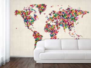 World map wallpaper - butterfly style