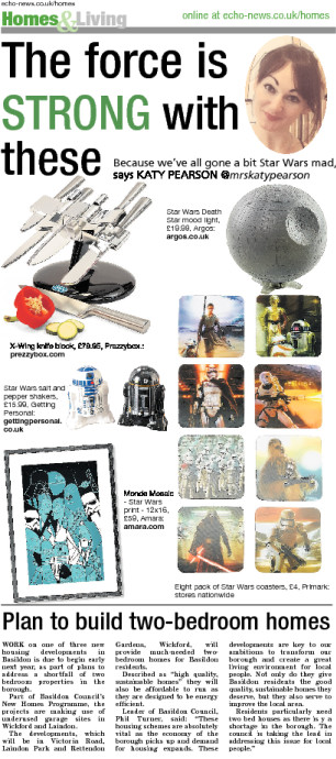 The Echo newspaper, Katy Pearson, interiors, Star Wars