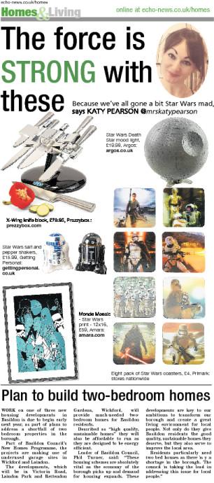 The Echo newspaper, Katy Pearson, interiors, Star Wars