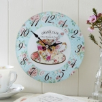 Chintz Tea Pot Glass Wall Clock