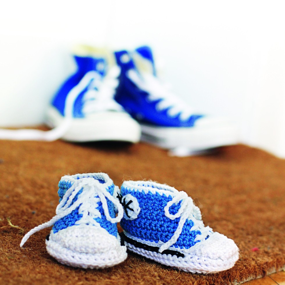 Crochet basketball shoes for babies