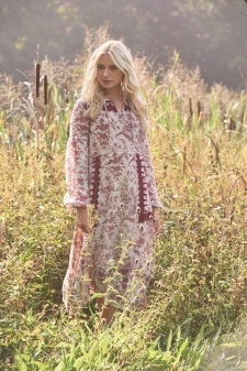 Laura Ashle SS17, Tie Neck Printed Linen Dress