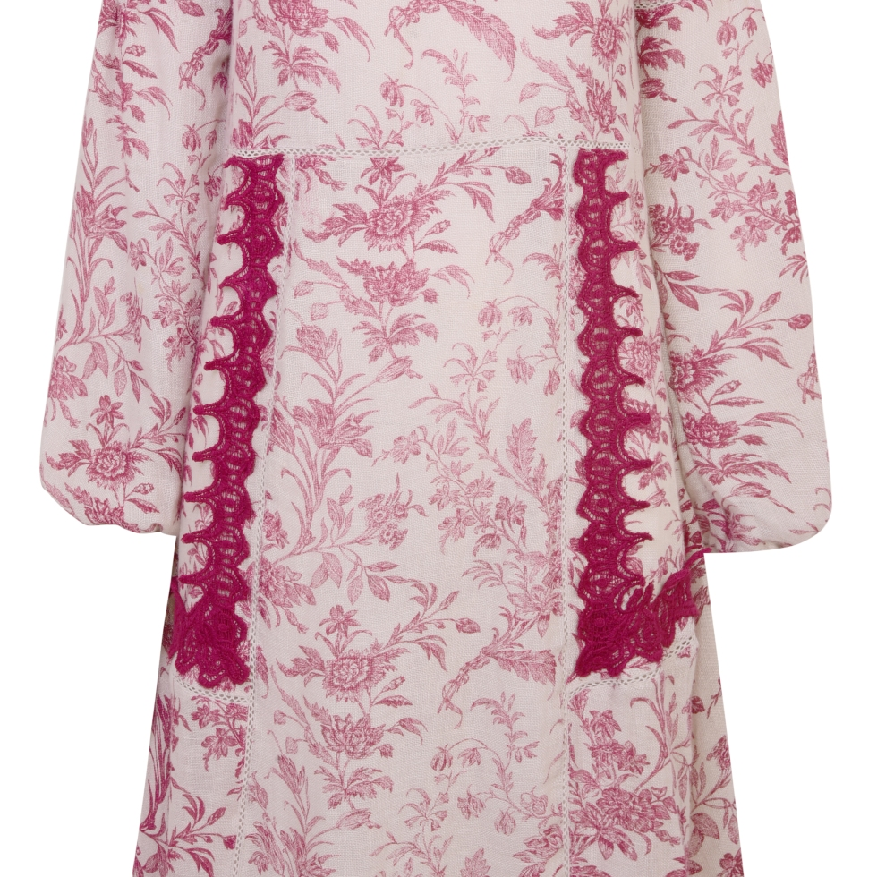 Laura Ashley SS17, Tie Neck Printed Linen Dress