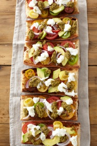 Speciality Tomatoes on Hot Garlic Bread with Pesto, #whatkatydidUK, recipe
